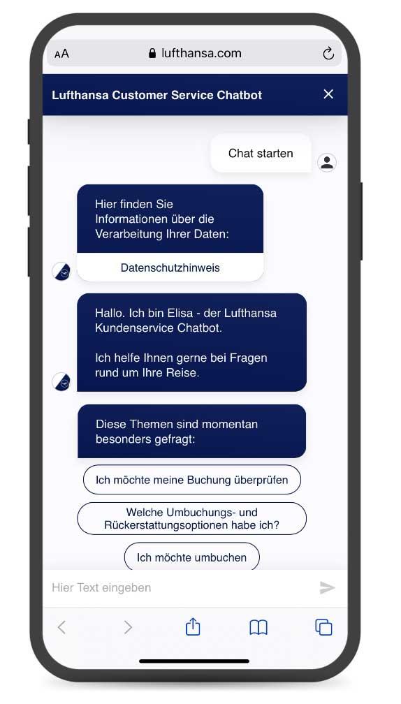 Elisa Service-Chatbot der Lufthansa