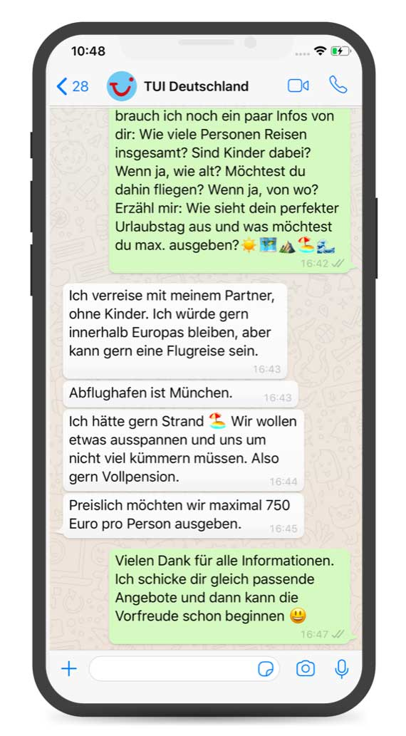 Chatbot und Live-Bot zur Beratung von der TUI